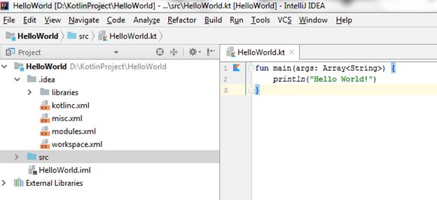 Kotlin First Program IDE 5