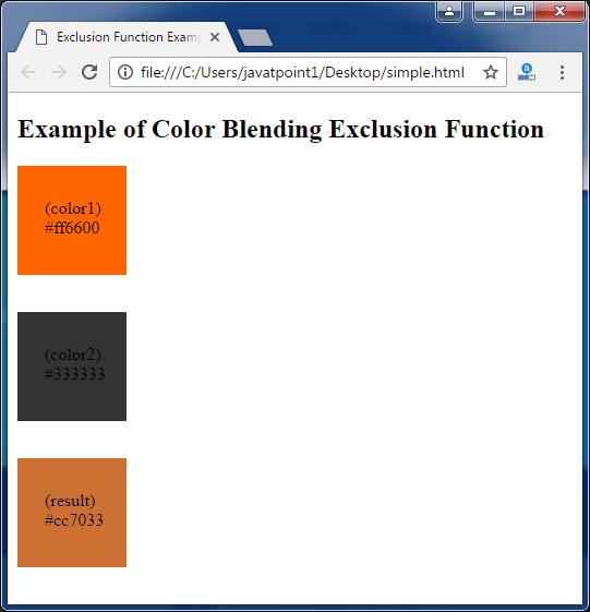 Less Color blending exclusion function3