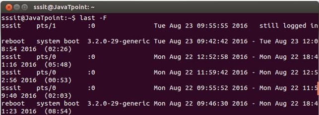 Linux Last fulllognlogout1