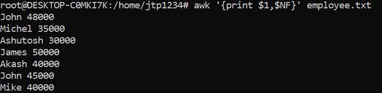 Awk Command Usage
