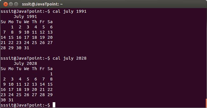 Linux cal2