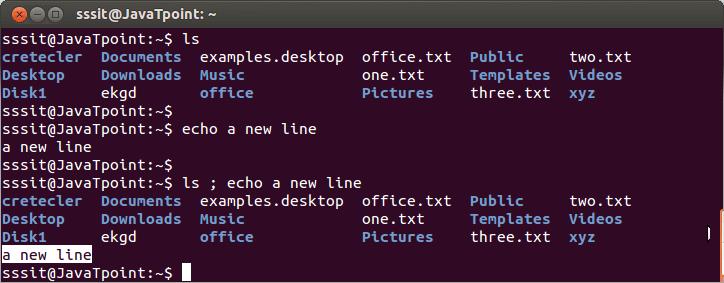 Linux semicolon