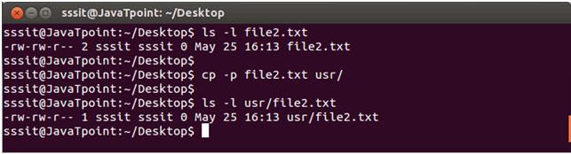 Linux cp -p