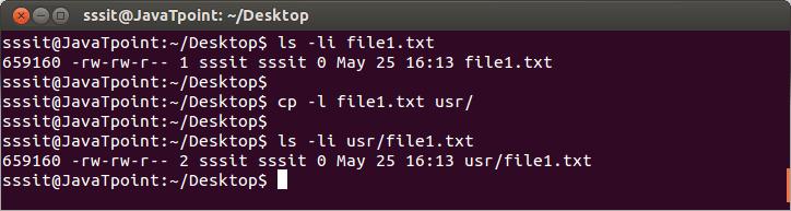Linux file cp -l