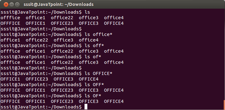 Linux File Globbing - javatpoint