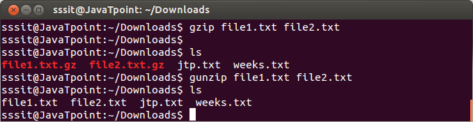 Linux Gzip Command - javatpoint