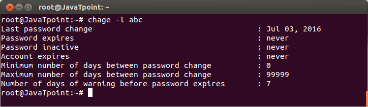 Linux User Password9