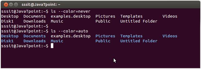 Linux ls -- color