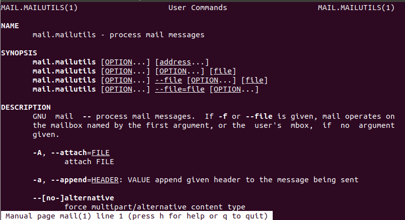 Linux mail Command