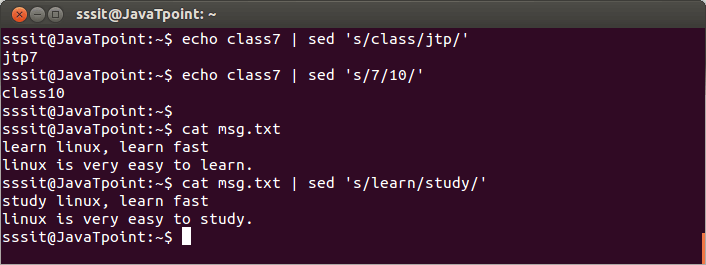 Linux Sed Filter1