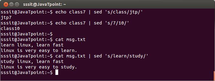 Linux Sed Filter