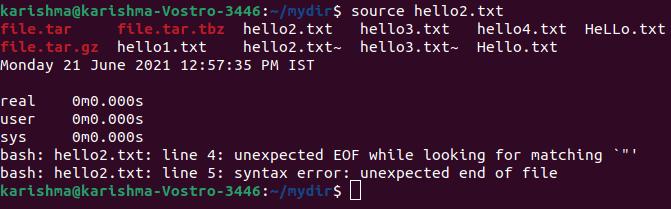 Linux Source Command