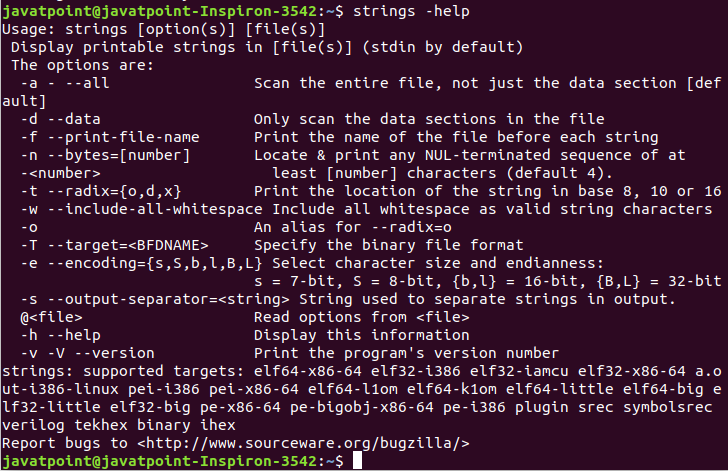 Linux strings command