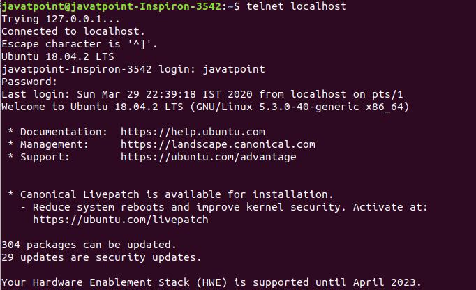 Linux telnet Command