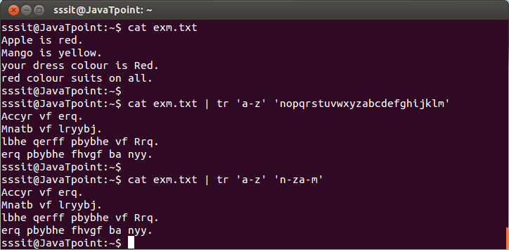 Linux tr Filters4