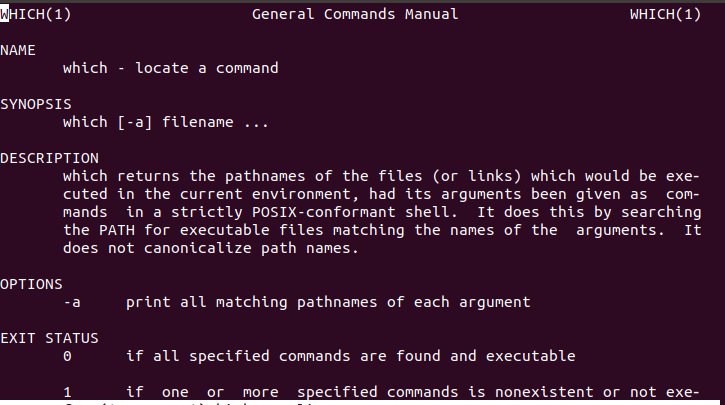 Linux which command