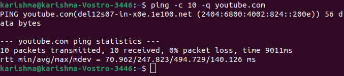 Ping command in Linux