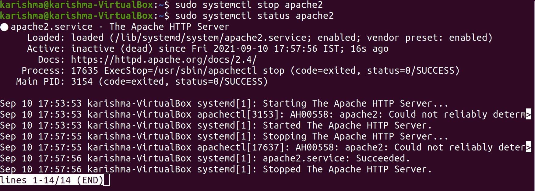 Restart Apache Ubuntu