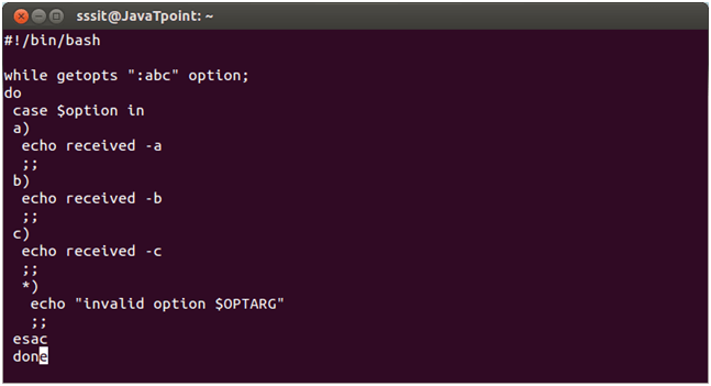 Get Shell Script Options with Getopts - javatpoint
