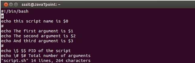 Shell Script Parameters - javatpoint