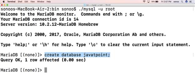 How to Install MariaDB on Mac - javatpoint