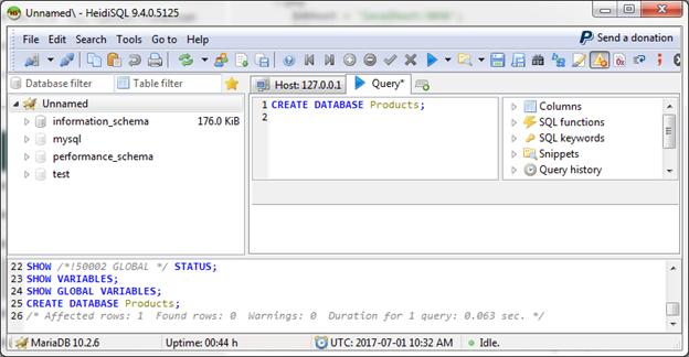 Mariadb Create database 1