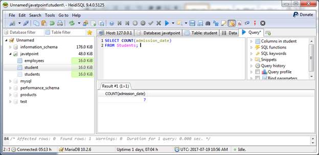 MariaDB Count function 3