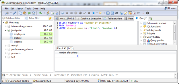 MariaDB Count function 4