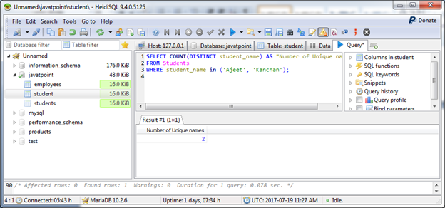 MariaDB Count function 5