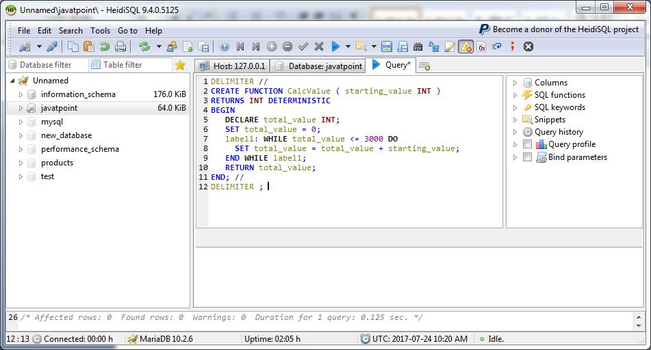 MariaDB Functions 1