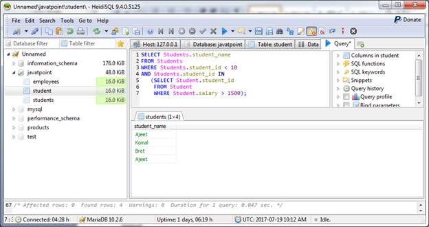 MariaDB Intersect operator 3
