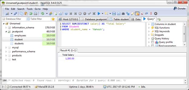 MariaDB Sum function 2
