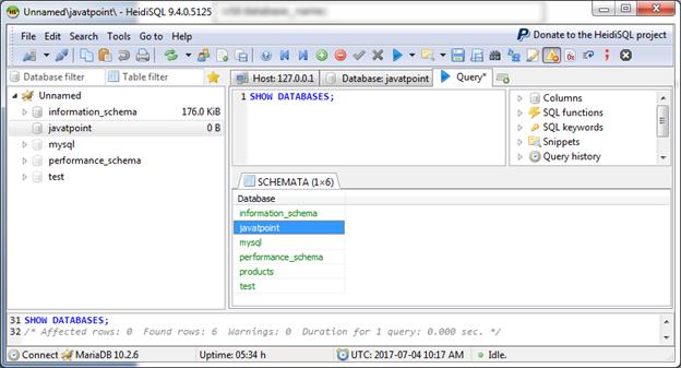 Mariadb Select database 1