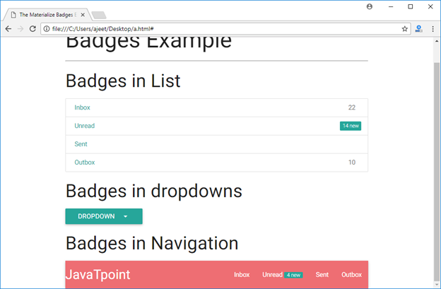 Materialize CSS Badges - javatpoint