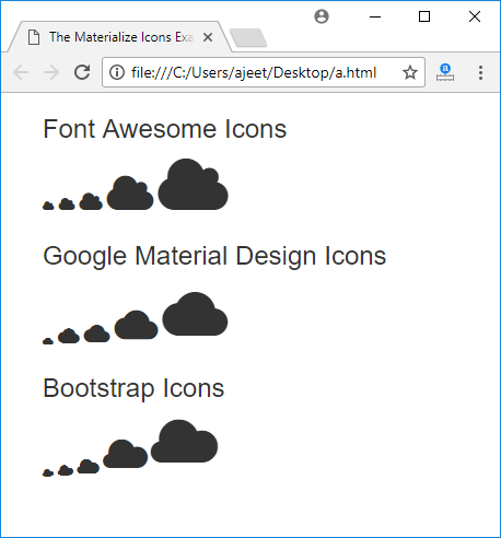 Materialize CSS Icons - javatpoint