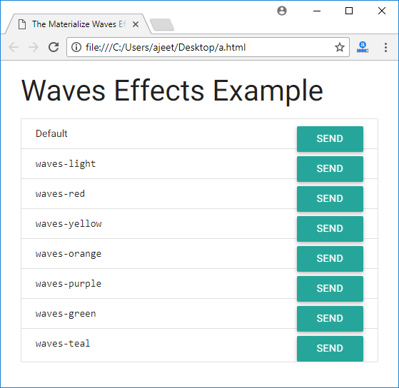 Materialize CSS Waves - javatpoint