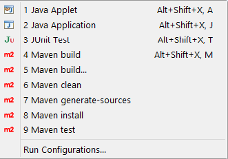 maven eclipse options