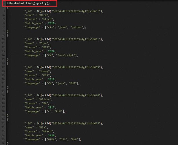 MongoDB find() Method