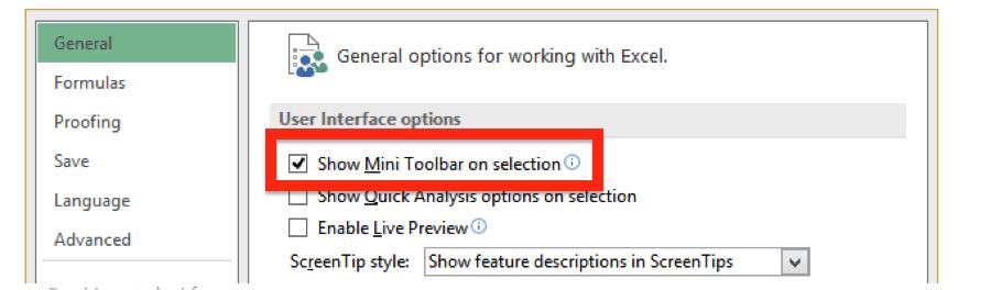 mini toolbar in excel