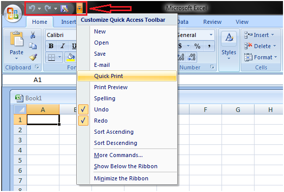 Quick access tool bar in excel 1