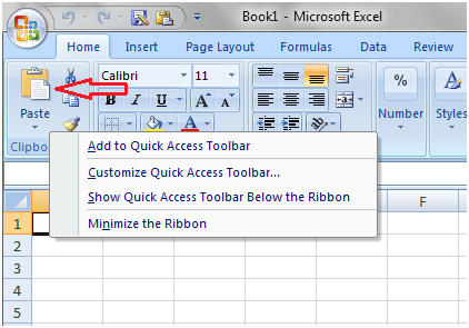 Quick access tool bar in excel 2