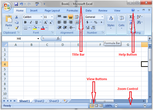 Title Bar, Help Button, Zoom Control and View Buttons in excel