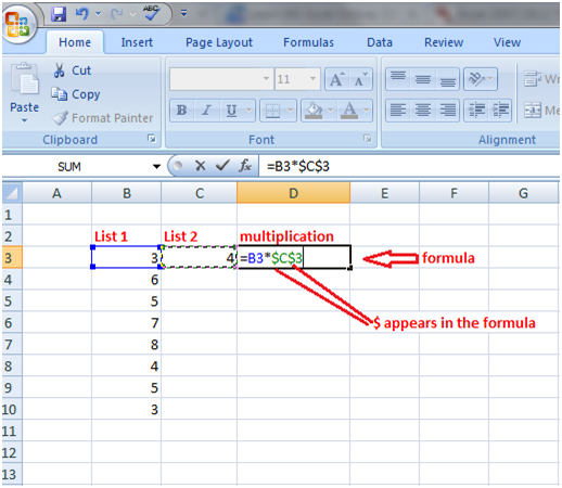 Excel absolute referencing 1