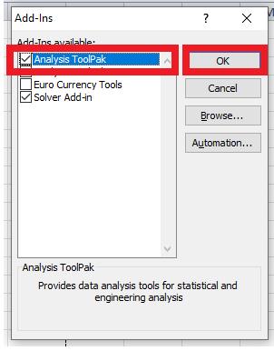 Analysis ToolPak
