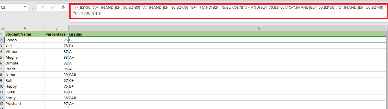 AND Function in Excel