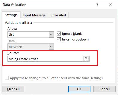 Apply data validation in Excel