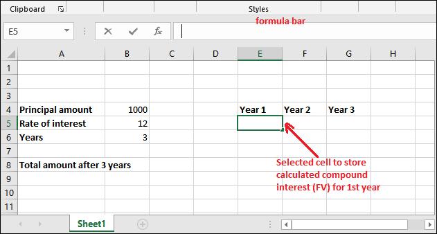 Compound interest formula in Excel