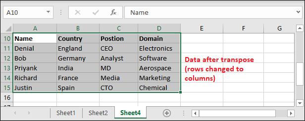 Convert rows to columns