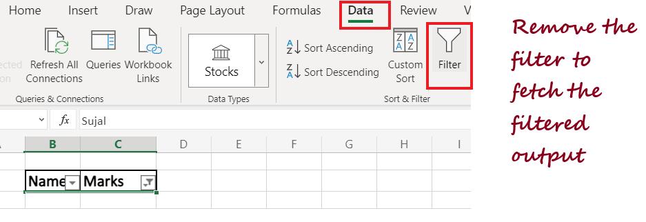 Delete Data in Excel