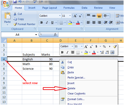 How to delete row in Excel